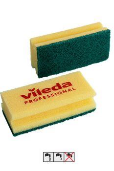 Губка Виледа желтая с зеленым абразивом 70х150 мм