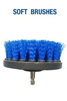 Щетка мягкая синяя 100 мм (4') под дрель / шуруповерт